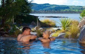 Enjoying Rotorua's thermal hot-springs.