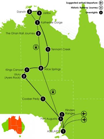 Outback Tracks: Outback Adventure & Ghan Rail Journey Large Map