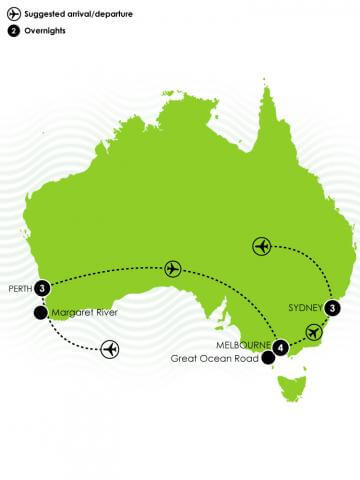 11 Day Cities of Australia Large Map