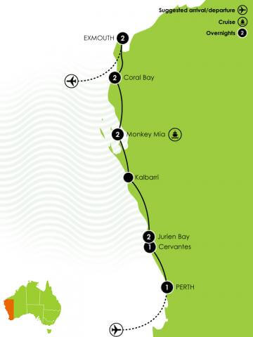 11 Day Perth to Exmouth Coastal Drive Large Map