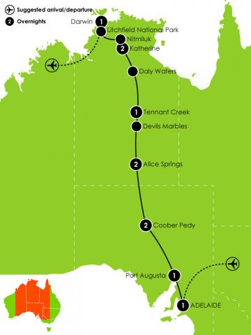 12 Day Explorers Way – Adelaide to Darwin Large Map