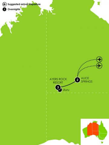 6 Day Red Centre Active Adventure Large Map