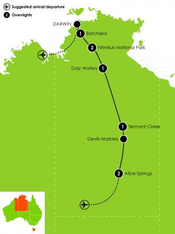 8 Day Alice Springs to Darwin Large Map