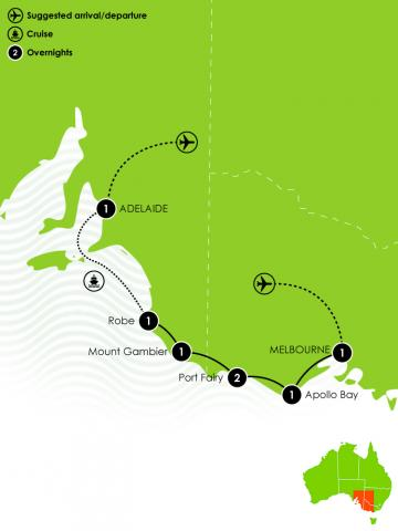 8 Day Melbourne to Adelaide Large Map