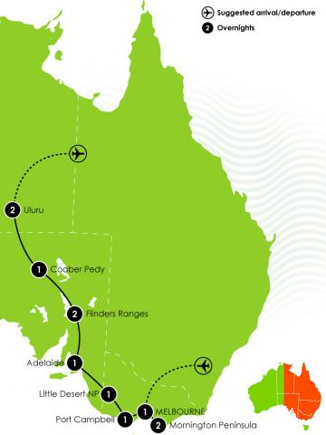 G Adventure - Melbourne, Outback & Uluru Adventure Large Map