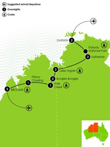 Darwin to Broome Self Drive Itinerary Big Map