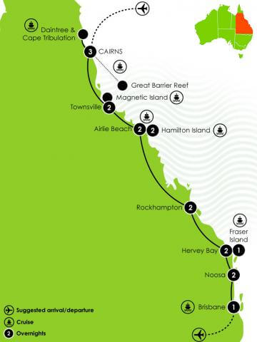 Cairns to Brisbane Island Escapes Self Drive Tour Itinerary Large map